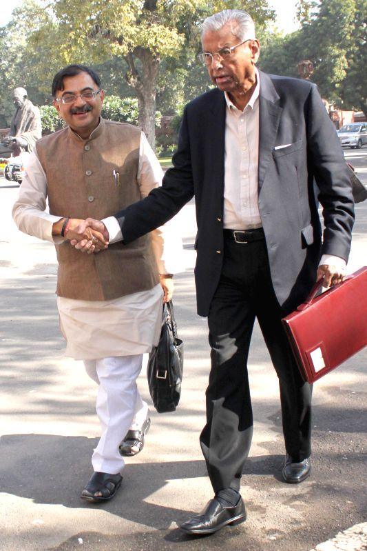 BJP leader Tarun Vijay at the Parliament premises in New Delhi, on Dec 1, 2014.