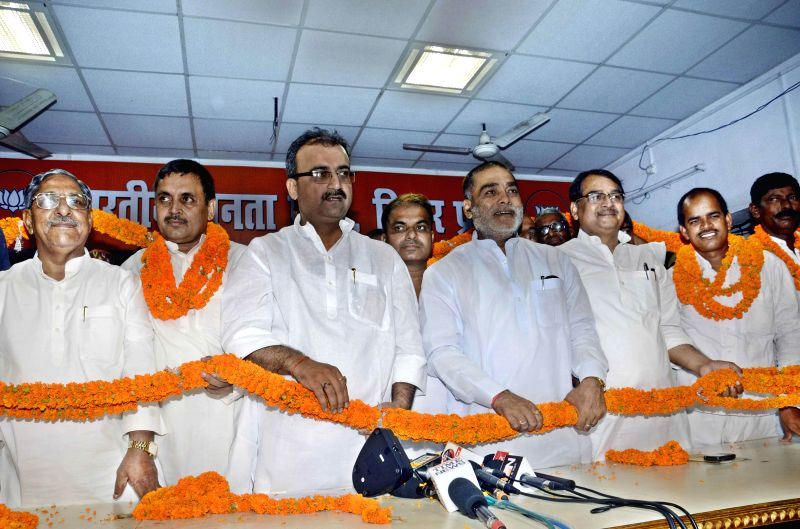 BJP leaders during a programme at BJP office in Patna on July 12, 2014.