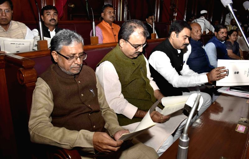 BJP leaders Sushil Kumar Modi, Mangal Pandey and others during the winter session of the Bihar assembly in Patna on Dec 4, 2015. - Sushil Kumar Modi and Mangal Pandey