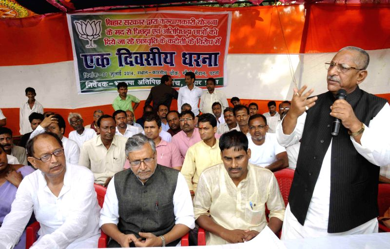 BJP leaders Sushil Kumar Modi, Nand Kishore Yadav and others participate in a sit-in demonstration organised at Kargil Chowk of Patna  on July 31, 2014. - Sushil Kumar Modi and Nand Kishore Yadav