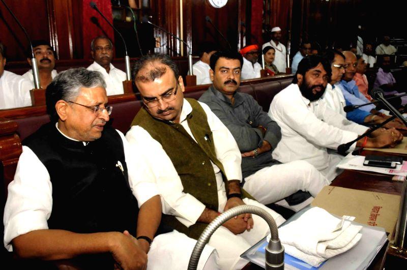 BJP legislators Sushil Kumar Modi and Mangal Pandey during monsoon session of Bihar assembly in Patna on July 29, 2016. - Sushil Kumar Modi and Mangal Pandey
