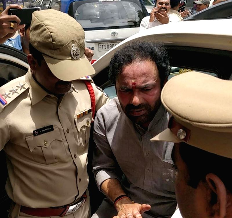 BJP Legislature Party leader G. Kishen Reddy being taken into custody at Himayat Nagar, in Hyderabad on July 17, 2018. - G. Kishen Reddy