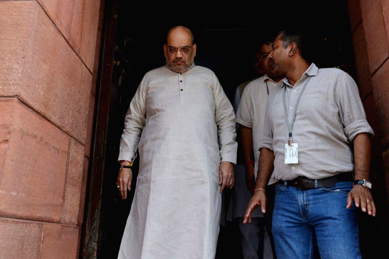 BJP MP Amit Shah at Parliament, in New Delhi on Aug 9, 2018. - Amit Shah