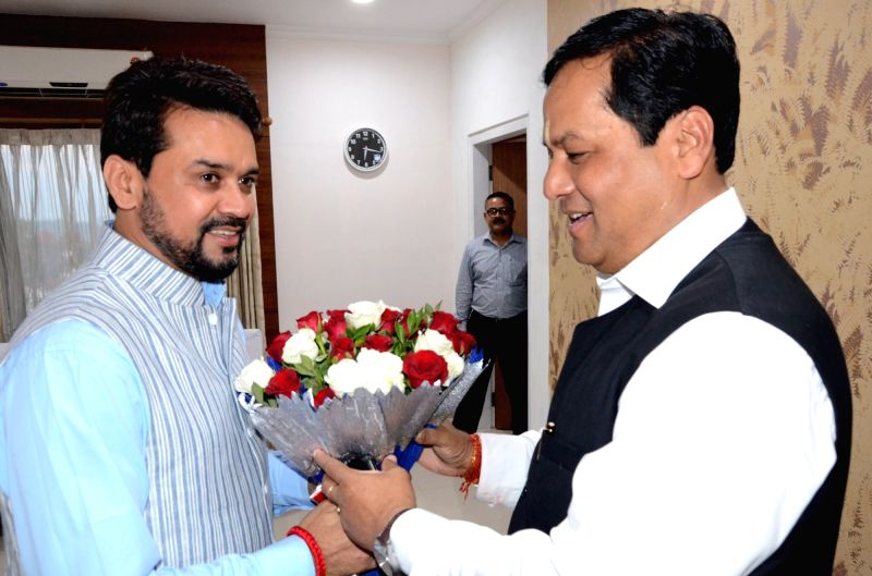 BJP MP and BCCI President Anurag Thakur calls on the Assam Chief Minister Sarbananda Sonowal in Guwahati on June 1, 2016. - Sarbananda Sonowal