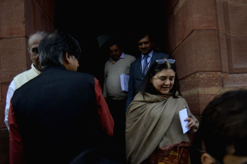 BJP MP and Union Women and Child Development Minister Maneka Gandhi at Parliament on Feb 1, 2018. - Maneka Gandhi