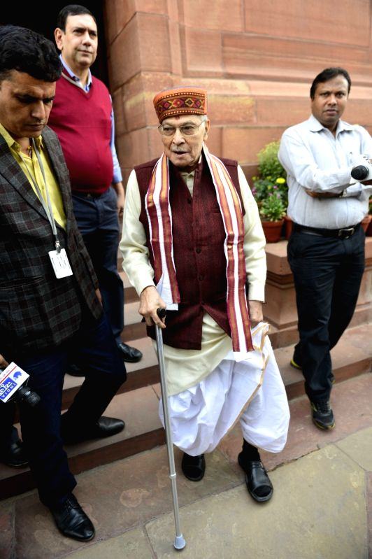 BJP MP Murli Manohar Joshi after the Day-1 of the winter session of the Parliament in New Delhi, on Nov 26, 2015. - Murli Manohar Joshi