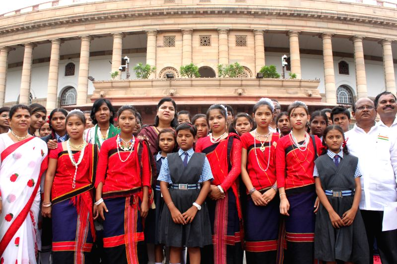 BJP MP Poonam Mahajan with school students from Arunachal Pradesh at the Parliament in New Delhi, on Aug 10, 2015. - Poonam Mahajan