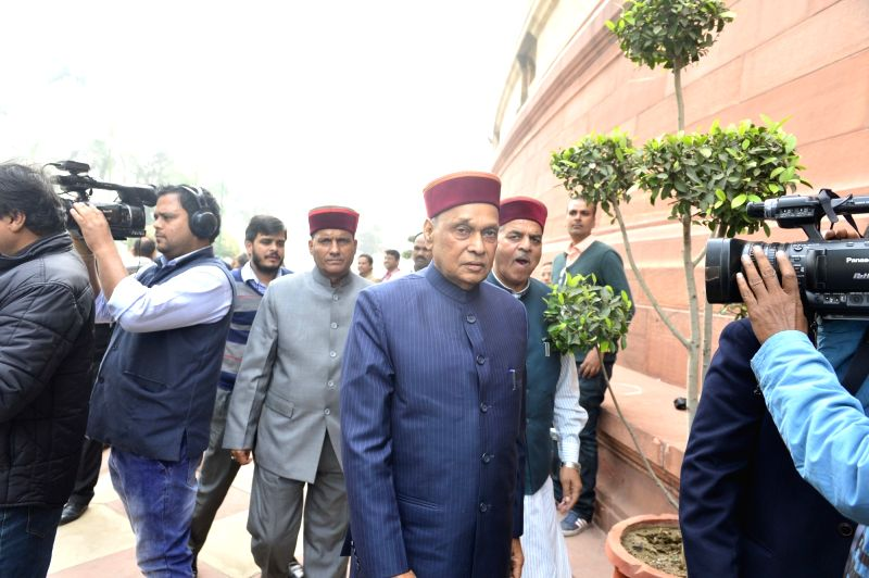 BJP MP Prem Kumar Dhumal at the Parliament in New Delhi, on Dec 10, 2015.