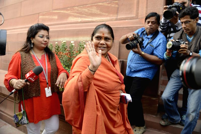 BJP MP Sadhvi Niranjan Jyoti after the Day-1 of the winter session of the Parliament in New Delhi, on Nov 26, 2015.