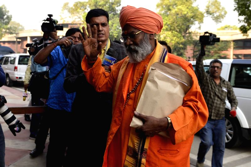 BJP MP Sakshi Maharaj after the Day-1 of the winter session of the Parliament in New Delhi, on Nov 26, 2015.