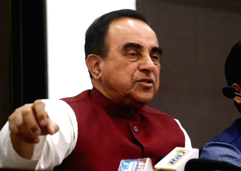 BJP MP Subramanian Swamy addresses a press conference in New Delhi on March 14, 2017.