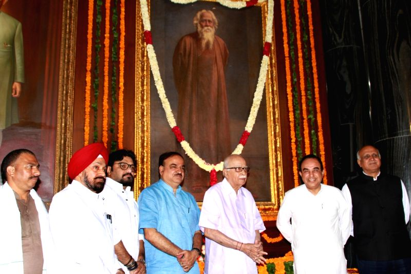 BJP MPs LK Advani, Subramanian Swamy, Babul Supriyo, Ananth Kumar and others pay tribute to Rabindranath Tagore on his birth anniversary at the Central Hall of Parliament House on May 8, ... - Ananth Kumar