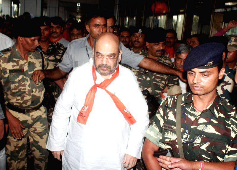 BJP President Amit Shah arrives at Sardar Vallabhbhai Patel International Airport in Ahmedabad, on Aug 4, 2016. - Amit Shah