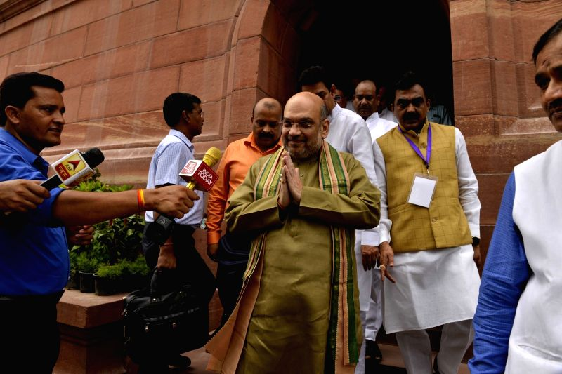 BJP President Amit Shah arrives at the Parliament to cast his vote in presidential polls on July 17, 2017. - Amit Shah