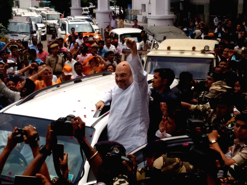 BJP president Amit Shah arrives in Agartala on May 6, 2017. - Amit Shah