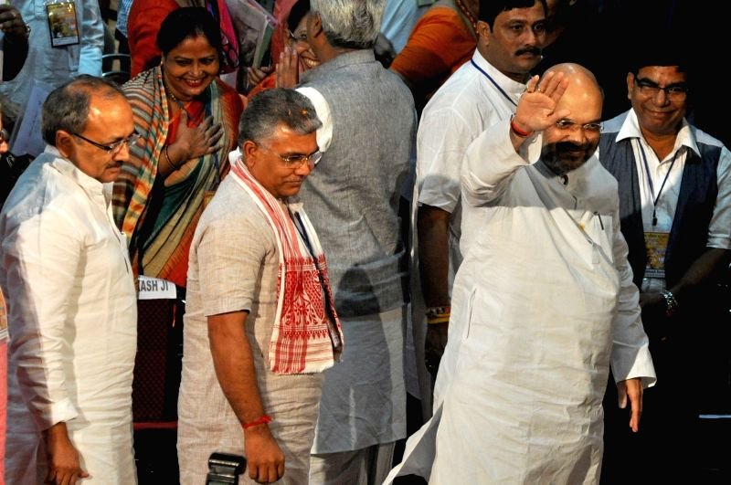 BJP president Amit Shah during Party's Parishad Sammelan in Kolkata on Aug 3, 2016. - Amit Shah