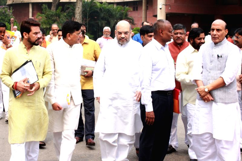 BJP president Amit Shah, Home Minister Rajnath Singh and other party leaders at BJP Parliamentary Party meeting in Parliament House, on July 26,2016. - Rajnath Singh and Amit Shah