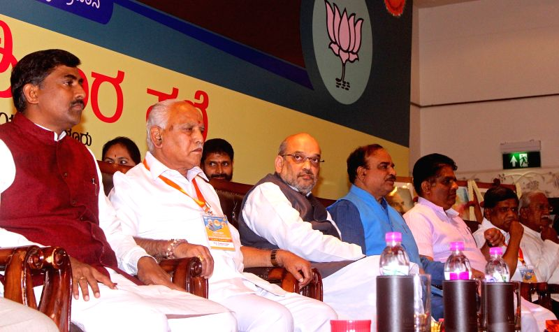 BJP President Amit Shah, Karnataka BJP State President BS Yediyurappa with Union Ministers Ananth Kumar during an Intellectual meeting in Bengaluru on Aug 12, 2017. - Ministers Ananth Kumar and Amit Shah