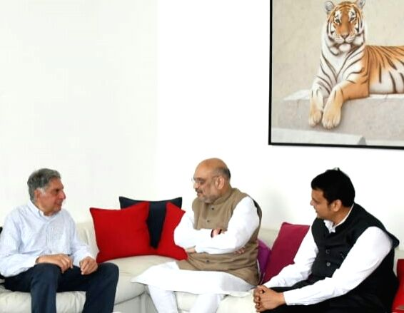 BJP President Amit Shah meets Tata Group Chairman Emeritus Ratan Tata at his residence in Mumbai, on June 6, 2018. - Ratan Tata and Amit Shah