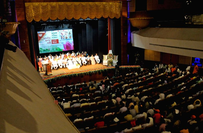 BJP president Amit Shah, party's state Chief Dilip Ghosh, leader Siddharth Nath Singh during Party's Parishad Sammelan in Kolkata on Aug 3, 2016. - Amit Shah, Dilip Ghosh and Siddharth Nath Singh