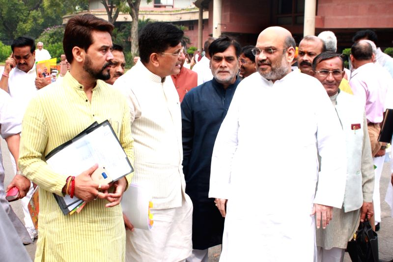 BJP president Amit Shah with other party leaders at BJP Parliamentary Party meeting in Parliament House, on July 26,2016. - Amit Shah