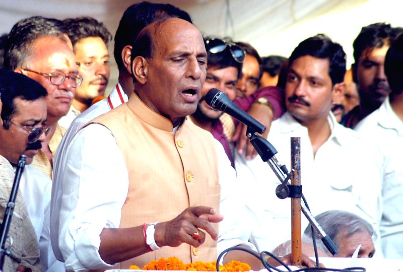 BJP President Rajnath Singh addresses a rally in Allahabad on April 30, 2014.