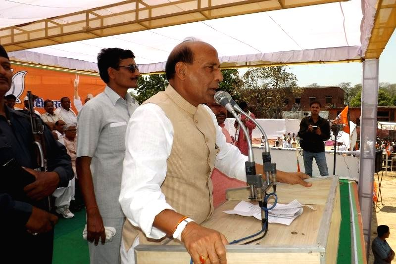 BJP president Rajnath Singh addresses during an election campaign in Farrukhabad of Uttar Pradesh on April 22, 2014.