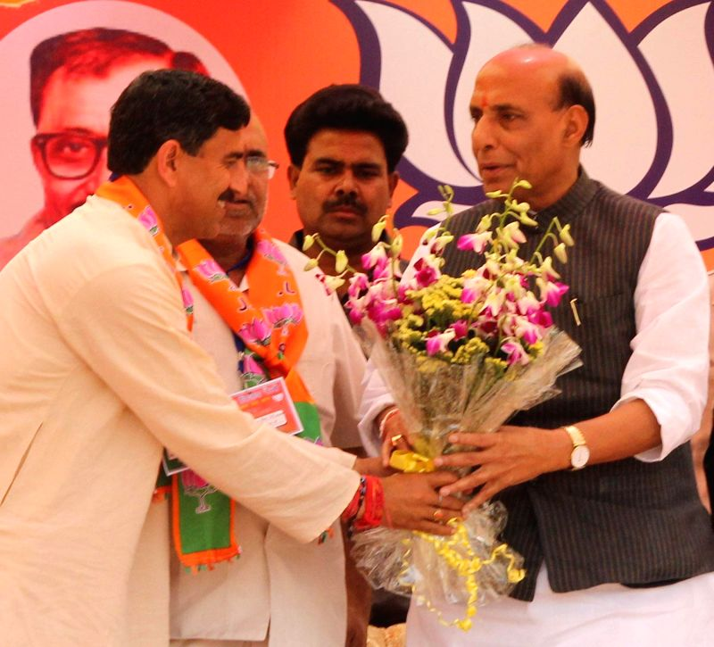 BJP president Rajnath Singh during a rally in Udhampur district of Jammu and Kashmir on April 15, 2014.