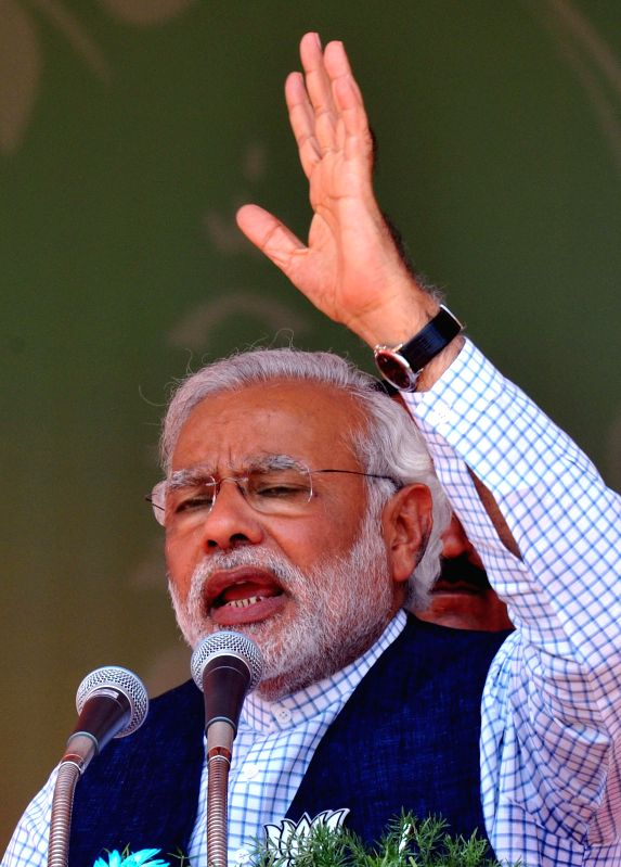 BJP Prime Ministerial candidate and Gujarat Chief Minister Narendra Modi addresses a rally in Erode on April 17, 2014.