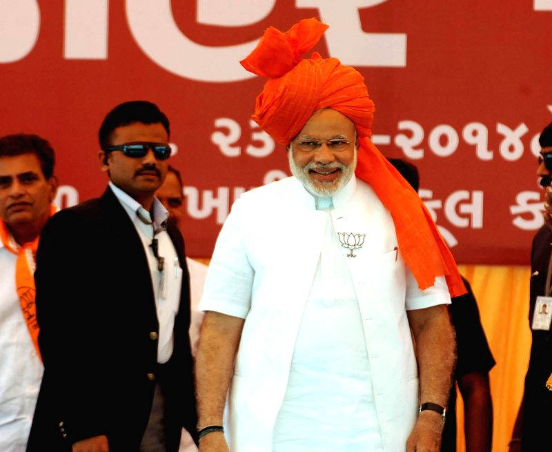 BJP Prime Ministerial candidate and Gujarat Chief Minister Narendra Modi during a rally at Kalol near Ahmedabad on April 23, 2014.