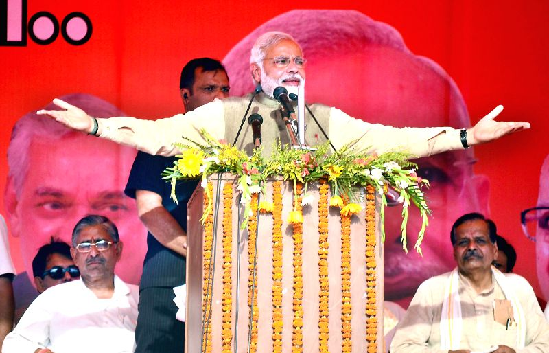 BJP Prime Ministerial candidate and Gujarat Chief Minister Narendra Modi addresses a rally in Allahabad on May 4, 2014.