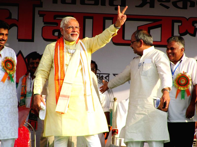 BJP Prime Ministerial candidate and Gujarat Chief Minister Narendra Modi during a rally in Krishnanagar of West Bengal's Nadia district on May 7, 2014.