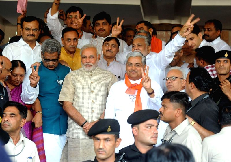 BJP Prime Ministerial candidate and Gujarat Chief Minister Narendra Modi at party office in Gandhinagar on May 16, 2014.