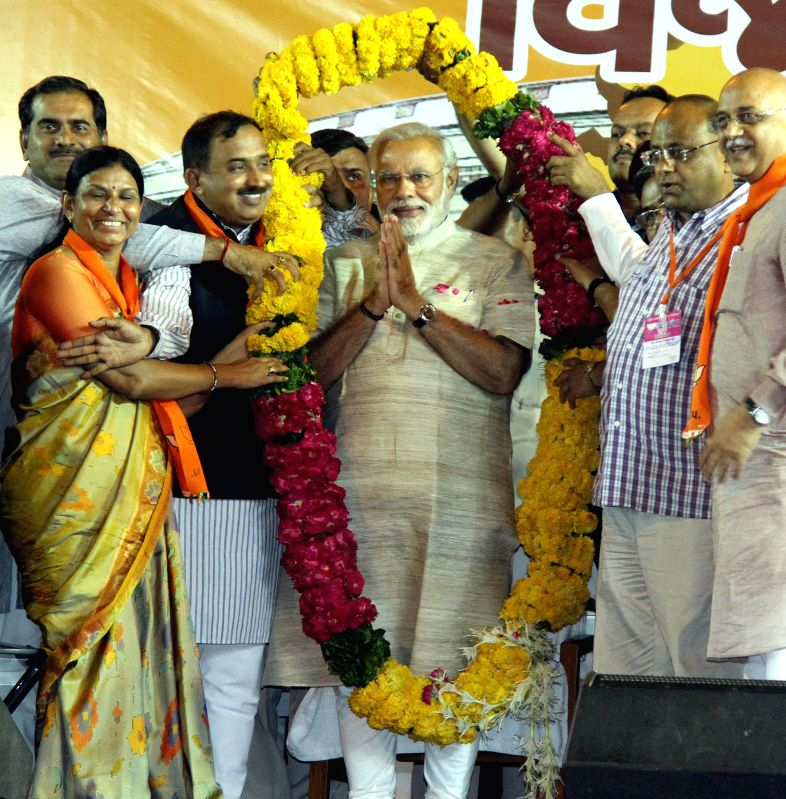 BJP Prime Ministerial candidate and Gujarat Chief Minister Narendra Modi during a public rally in Ahmedabad on May 16, 2014.