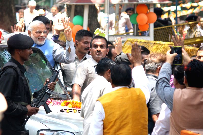 BJP Prime Ministerial candidate Narendra Modi arrives at party headquarters in New Delhi on May 17, 2014.