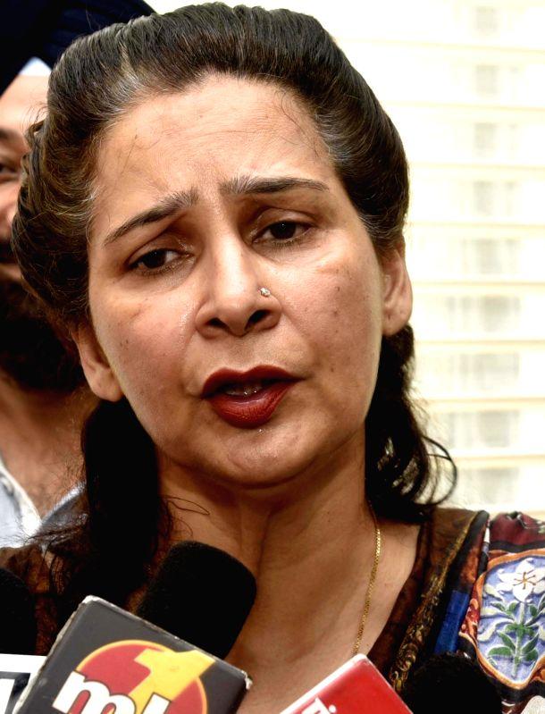 BJP's MLA from Amritsar Navjot Kaur Sidhu addresses a press conference in Amritsar on July 19, 2016.
