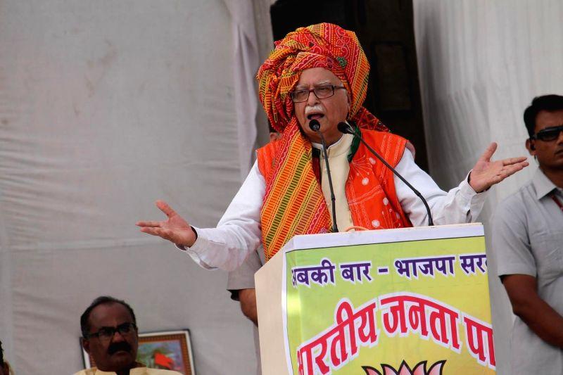 BJP senior leader Lal Krishna Advani addressing a public rally at Badwani district in Madhya Pradesh on April 19, 2014.