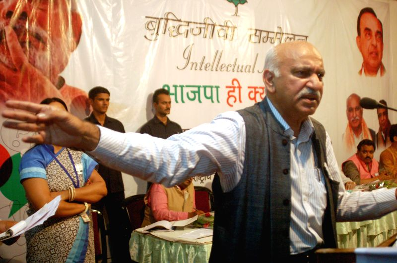 BJP spokeperson and senior journalist MJ Akbar addressing during a programe in Varanasi on April 26, 2014.