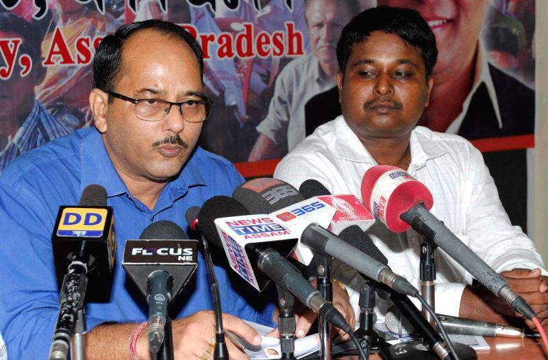 BJP spokesperson Adip Phukan addresses a press conference regarding power crisis in Assam; in Guwahati on July 30, 2014.