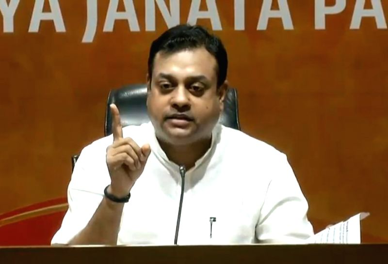 BJP spokesperson Sambit Patra addresses a press conference at the party headquarter, in New Delhi on July 17, 2018.