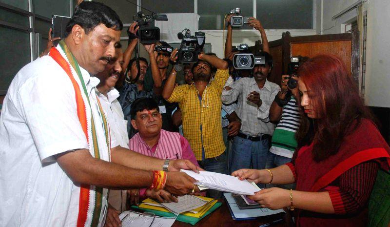 BJP state president and North Kolkata Parliamentary constituency candidate Rahul Sinha filing his nomination for Lok Sabha election in Kolkata on April 17, 2014.