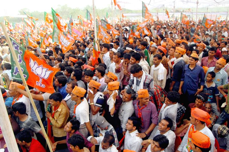 BJP supporters during a rally of BJP Prime Ministerial candidate and Gujarat Chief Minister Narendra Modi in Allahabad on May 4, 2014.