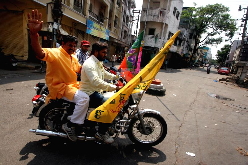 BJP-TDP candidate Raja Singh during an election campaign in Goshamahal of Hyderabad  on April 27, 2014. - Singh
