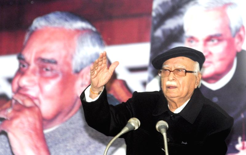 BJP veteran and party MP from Gandhinagar L K Advani addresses at the launch of `Hamare Atal ji` - a book edited by Prabhat Jha on former prime minister Atal Behari Vajpayee's 90th birthday in New ...