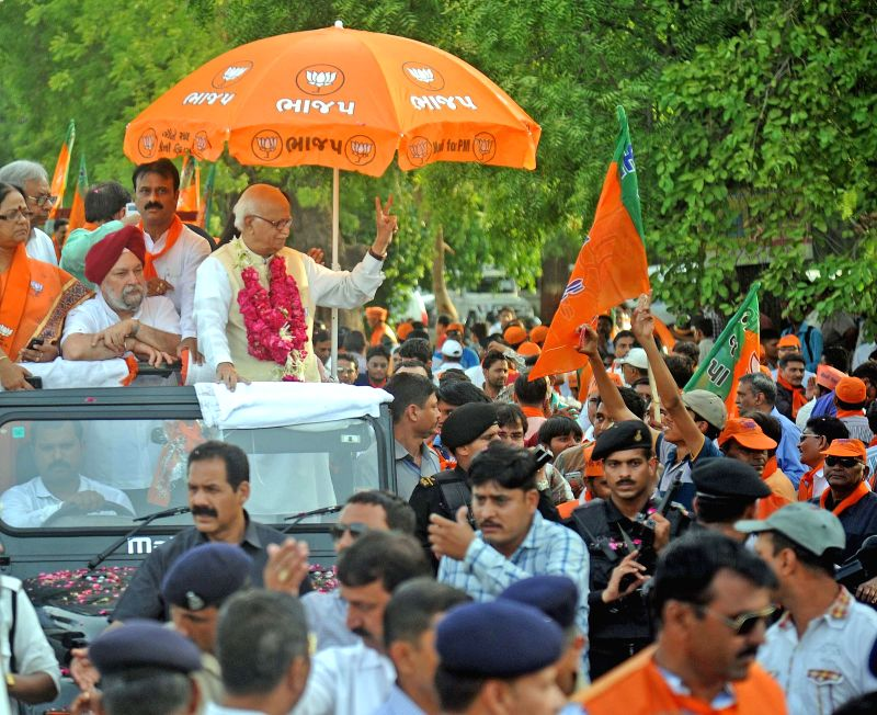 BJP veteran L K Advani during a roadshow in Ahmedabad on April 27, 2014.