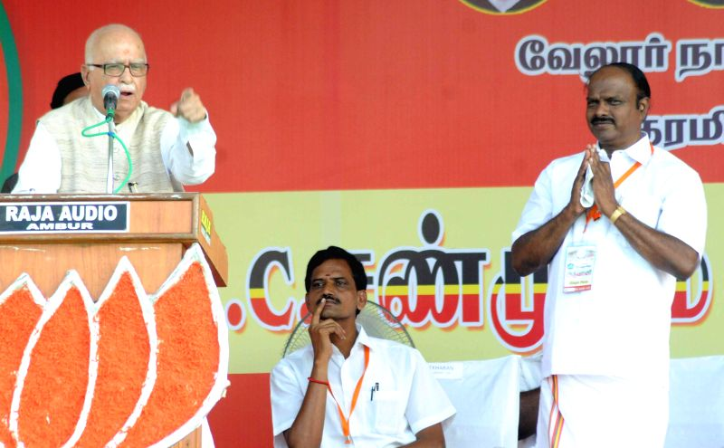 BJP veteran L K Advani during an election campaign in Vellore of Tamil Nadu on April 21, 2014.