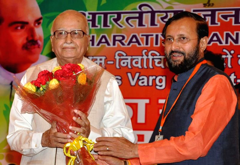 BJP veteran L K Advani with Minister of State for Information and Broadcasting (Independent Charge), Environment, Forest and Climate Change (Independent Charge) Prakash Javadekar during orientation .. - L K Advani