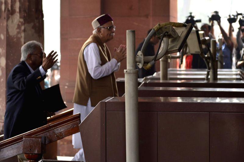 BJP veteran LK Advani arrive at the Parliament in New Delhi, on Dec 10, 2015.