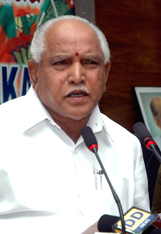 BJP vice president B. S. Yeddyurappa addresses a press conference at party office in Bangalore on Sept 2, 2014.