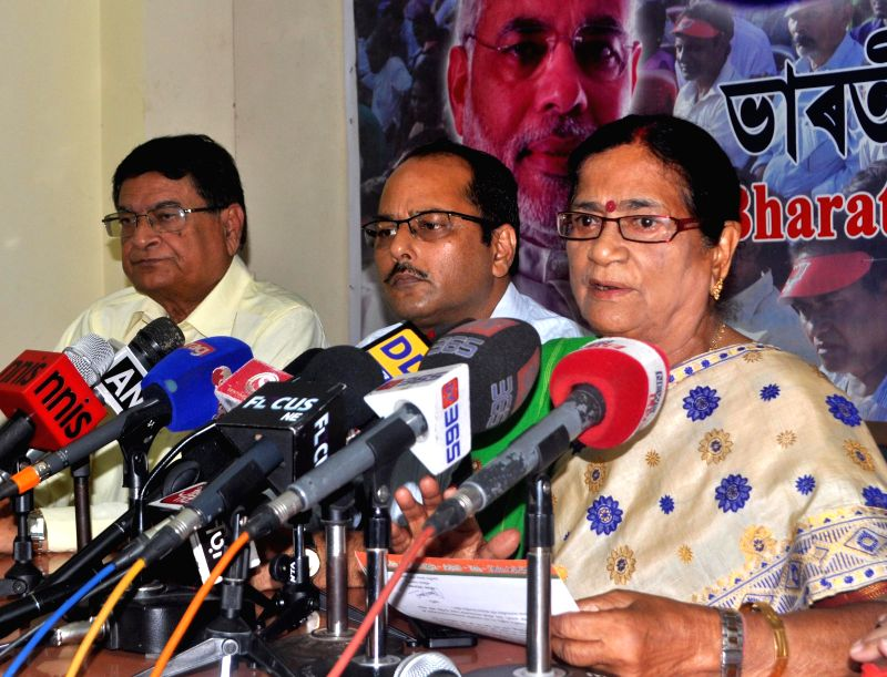 BJP vice president Bijoya Chakraborty during a press conference regarding recent violence in BTAD area of Assam, in Guwahati on May 5, 2014. - Bijoya Chakraborty